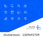 delivery line icon set. courier ... | Shutterstock .eps vector #1309692709