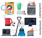 broken appliance. damage...   Shutterstock .eps vector #1309696999