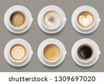 coffee mug top view. cappuccino ... | Shutterstock .eps vector #1309697020