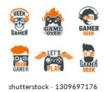 gamers badges. joystick video...   Shutterstock .eps vector #1309697176