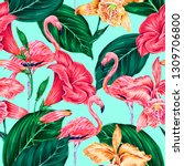 floral seamless vector tropical ... | Shutterstock .eps vector #1309706800