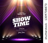 showtime banner with curtain...   Shutterstock .eps vector #1309708873