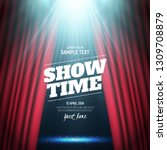 showtime banner with curtain... | Shutterstock .eps vector #1309708879