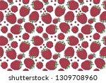 raspberry seamless pattern....   Shutterstock .eps vector #1309708960