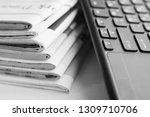 newspapers and computer... | Shutterstock . vector #1309710706