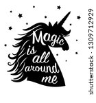 silhouette of unicorn  magic is ... | Shutterstock .eps vector #1309712929