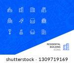 residential building icons. set ... | Shutterstock .eps vector #1309719169