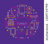 electronics circle poster with... | Shutterstock .eps vector #1309719799