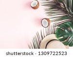 summer composition. tropical...   Shutterstock . vector #1309722523