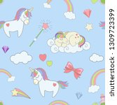 seamless pattern with cute... | Shutterstock . vector #1309723399