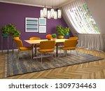 interior dining area. 3d...   Shutterstock . vector #1309734463
