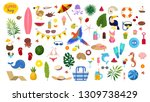 summer vacation set. collection ... | Shutterstock .eps vector #1309738429