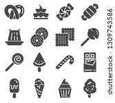 candy icon set. 16 candy icons... | Shutterstock .eps vector #1309743586