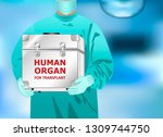 doctor holds in hands box with...   Shutterstock .eps vector #1309744750