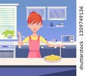 vector modern kitchen interior. ... | Shutterstock .eps vector #1309749136