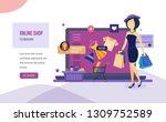 online shop  ordering system of ... | Shutterstock .eps vector #1309752589