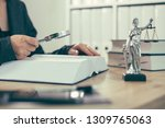 attorney woman using magnifying ... | Shutterstock . vector #1309765063