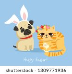 vector card with cute pug and... | Shutterstock .eps vector #1309771936