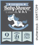 baby shower invitation card... | Shutterstock .eps vector #130977299