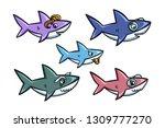 Cartoon Style Cute Sharks...