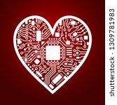 cyber technology heart.... | Shutterstock .eps vector #1309781983