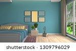 bedroom interior. 3d... | Shutterstock . vector #1309796029