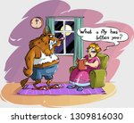 a werewolf comes to the woman...   Shutterstock .eps vector #1309816030