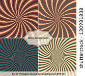 set of vintage colored rays... | Shutterstock .eps vector #130981838