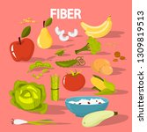 fiber food set. beans and... | Shutterstock .eps vector #1309819513