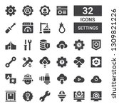settings icon set. collection... | Shutterstock .eps vector #1309821226