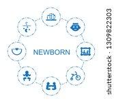 newborn icons. trendy 8 newborn ... | Shutterstock .eps vector #1309822303