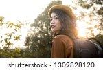 beauty asian woman backpack...   Shutterstock . vector #1309828120