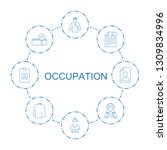 8 occupation icons. trendy... | Shutterstock .eps vector #1309834996
