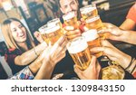 friends drinking beer at... | Shutterstock . vector #1309843150