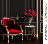classic carved armchair with... | Shutterstock . vector #1309848643