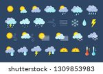 weather icons pack. colorful... | Shutterstock .eps vector #1309853983