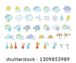 colorful weather icons set.... | Shutterstock .eps vector #1309853989