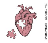 human heart with missing puzzle ... | Shutterstock .eps vector #1309862743