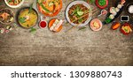 various of asian meals on... | Shutterstock . vector #1309880743