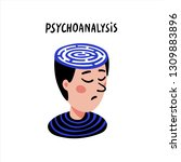 psychology. psychoanalysis. man ... | Shutterstock .eps vector #1309883896