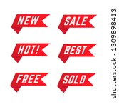set of red promotional ribbons.   Shutterstock .eps vector #1309898413