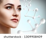 beautiful woman near big white... | Shutterstock . vector #1309908409