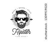 bearded men face. hipster. hand ... | Shutterstock .eps vector #1309919020