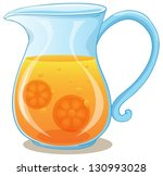 Illustration of a pitcher of orange juice on a white background