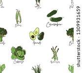 green vegetables seamless... | Shutterstock .eps vector #1309931659