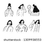 various girl's poses set. hand... | Shutterstock .eps vector #1309938553