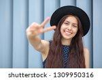 happy smiling brunette woman... | Shutterstock . vector #1309950316