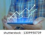 businessman on digital stock... | Shutterstock . vector #1309950739