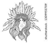 tribal fusion boho diva. black... | Shutterstock .eps vector #1309953709
