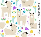 seamless pattern with llamas... | Shutterstock .eps vector #1309970659